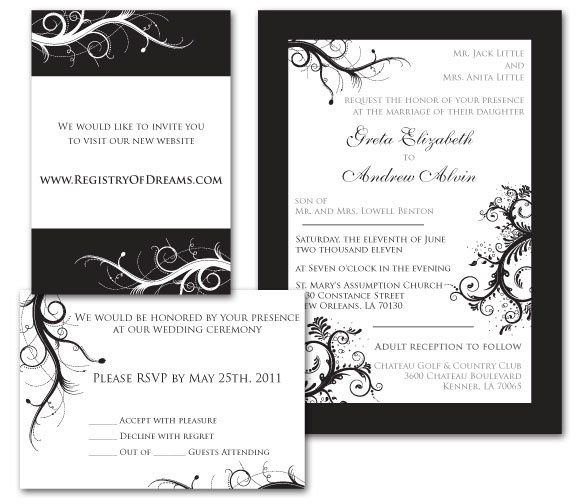 Tmx 1331330566377 WeddingInviteBlackWhite Mandeville wedding invitation