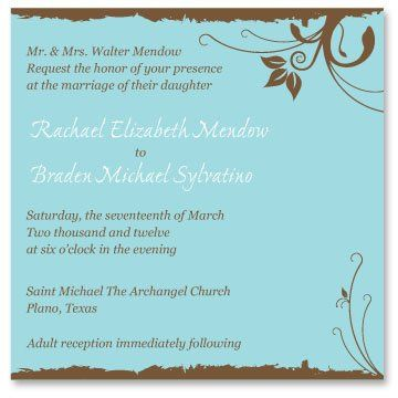 Tmx 1331330568545 WeddingInviteBlueBrown Mandeville wedding invitation