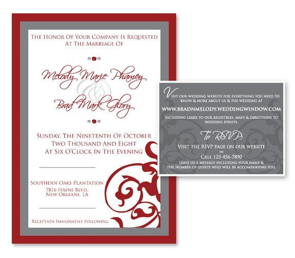 Tmx 1331330572710 WeddingInviteRedPewter Mandeville wedding invitation