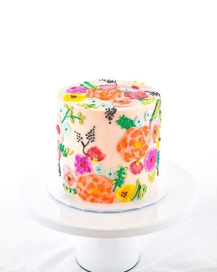 Palette knife floral cake