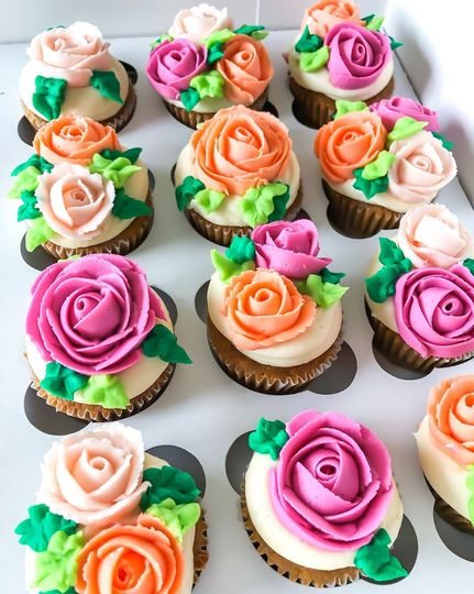 Piped rose cupcakes