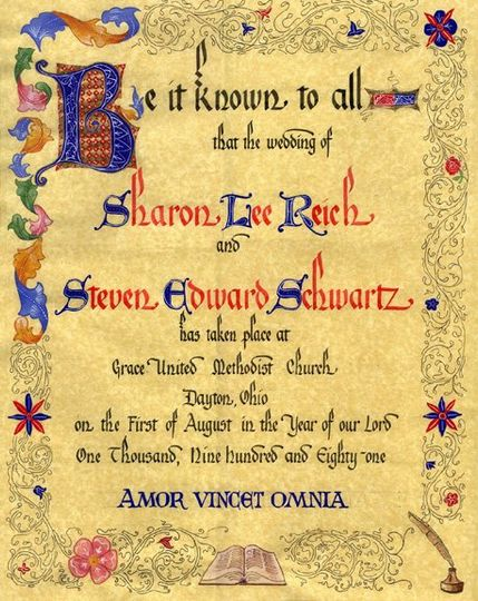 You may want a special certificate for your marriage to hang in your home.