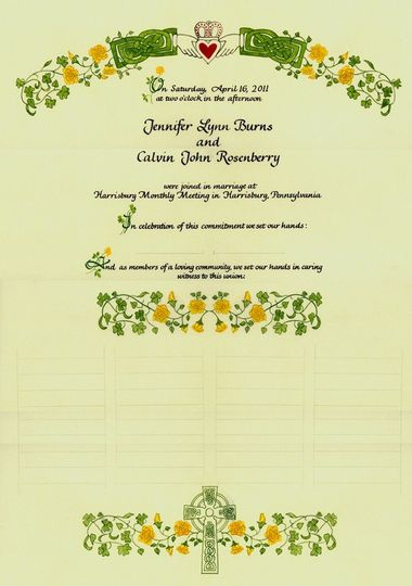 All your guests sign our special wedding certificates. It is decorated with your flowers or anything...