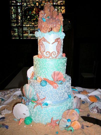 "Shades of Italian Buttercream decorated with custom, handmade, Sugar ""wet"" sandcastle, seahorses,..."
