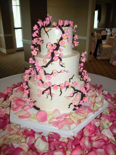 Chocolate and Sugar Cherry Blossoms decorate this Italian Buttercream wedding cake