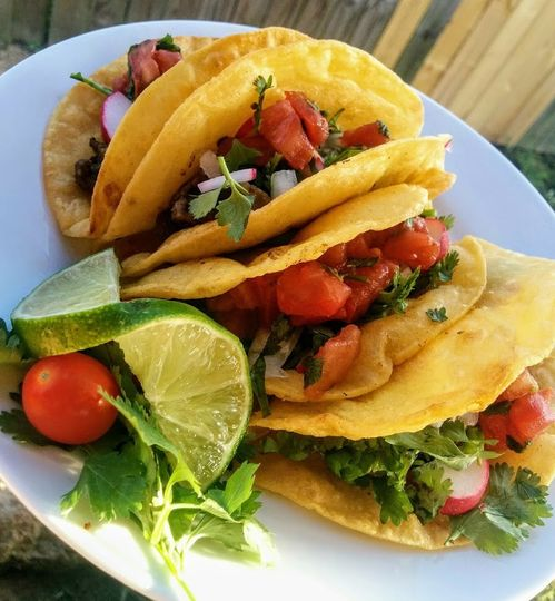 Our street tacos made with fresh cut steak and delicious fresh pico