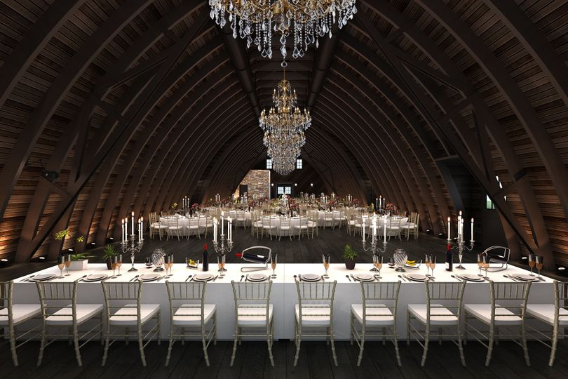 Originally a hayloft, the upper banquet hall has been updated with state-of-the-art design and...
