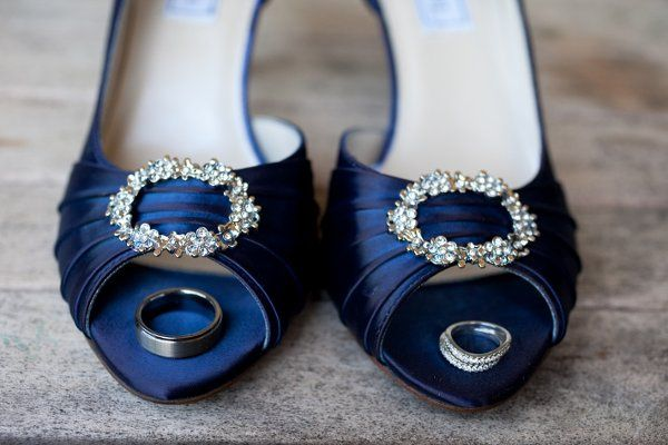 Bride's shoes and wedding rings