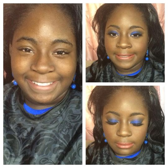 Before and after with blue eyeshadow