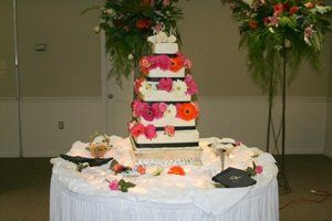 This is photo taken of one of the reception tables set up of some of the food...