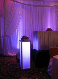 Showcase your wedding flowers at your head table. Our lighted flower pedestals are for rent.