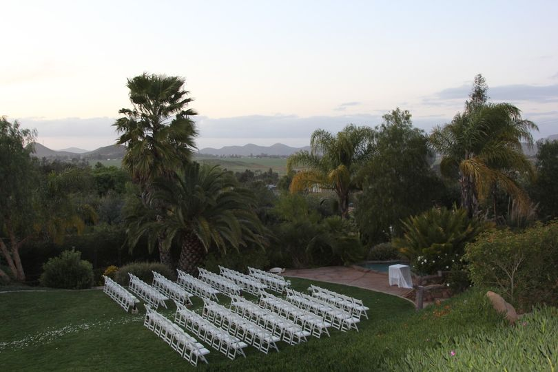 Outdoor ceremony area at dusk