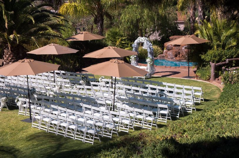 Outdoor Ceremony area. Seating with umbrellas.