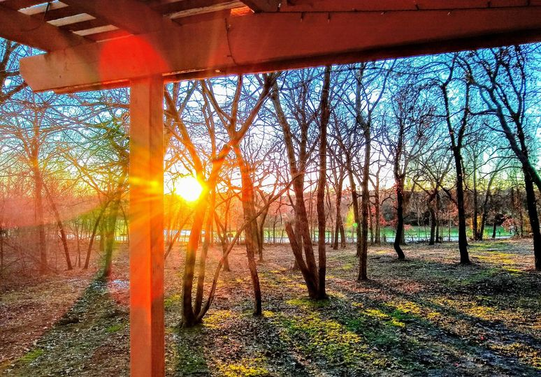 Wrap around deck at sunset