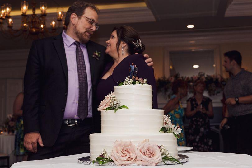 Couple and wedding cake