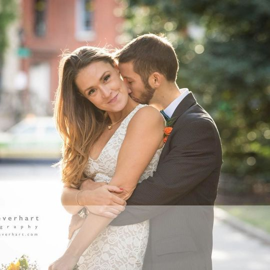 Kisses by the groom