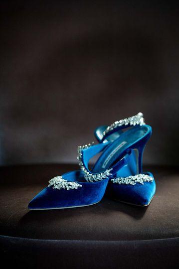 Manolo Blahnik blue suede shoe