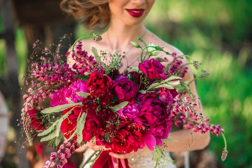 Pink and red bouquets