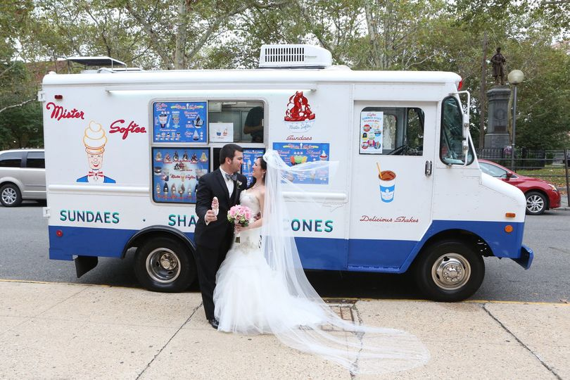 Ice-cream truck and couple