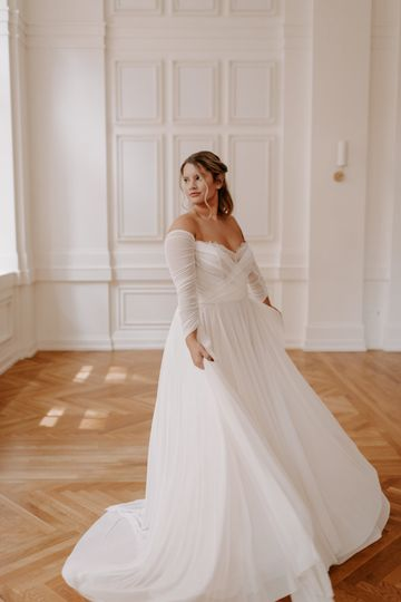 Whimsical sleeved gown