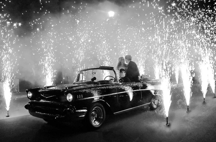 Leave your wedding with sparks flying.  Wedding pyro - gerbs