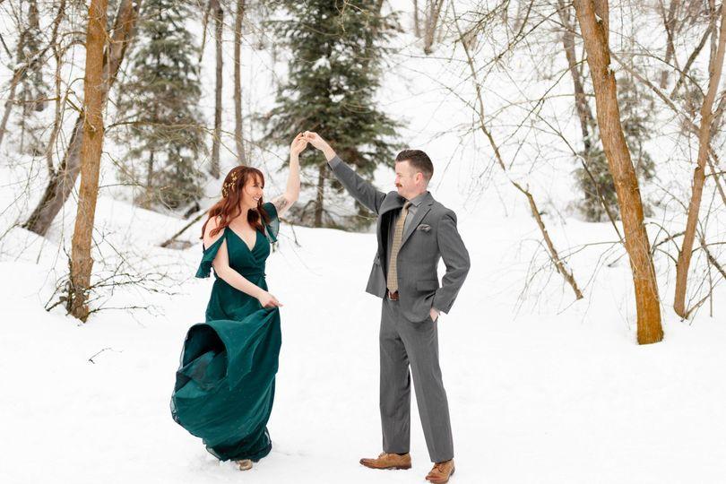 Elope Utah snow green dress