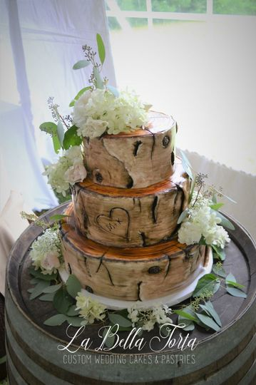 Fondant Covered Birch Wedding Cake