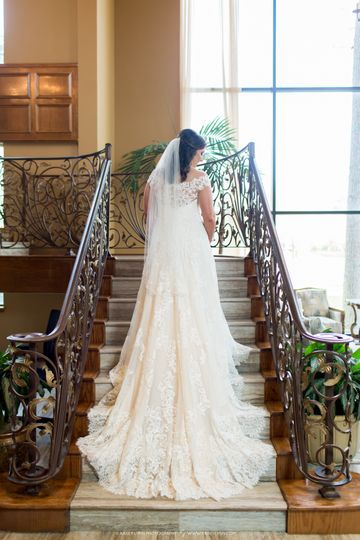 The bride on the grand staircase