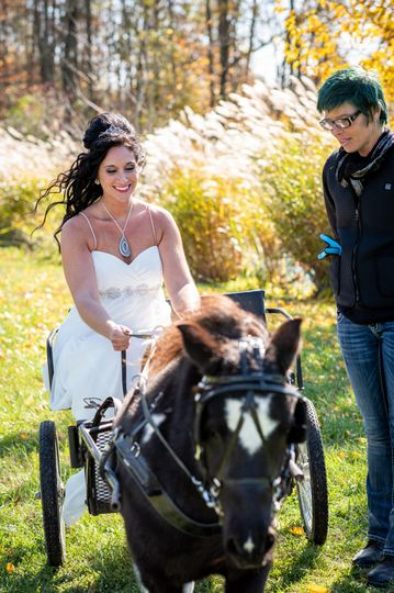 Bride driving the cart