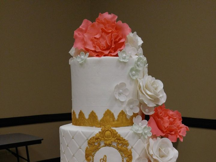 Tmx Gold Frame Monogram And Coral Peonies Wedding Cake Www Vintagebakery Com 803 386 8806 51 45999 159430716354702 Blythewood, SC wedding cake
