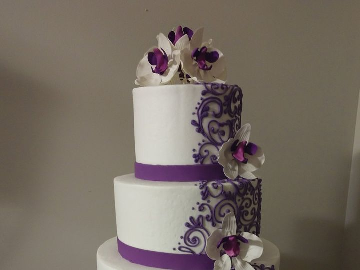 Tmx Purple Orchids Scrollwork Wedding Cake Vintagebakery Com 803 386 8806 1 51 45999 159430868881030 Blythewood, SC wedding cake