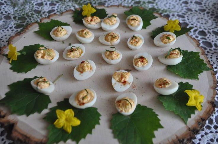 Mini deviled kimchi quail eggs