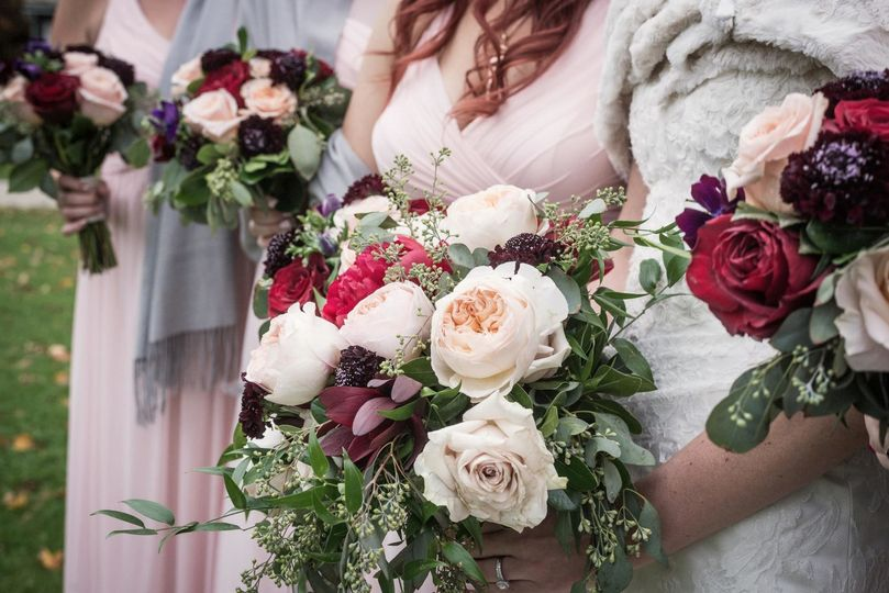 The ladies holding their bouquets
