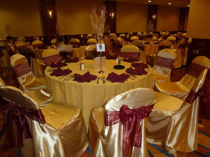 studio ballroom gold and deep red