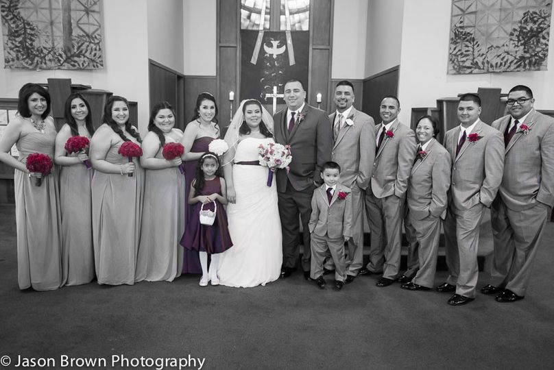 Formal Bridal Party Portrait with Black and White with Color Splash Editing Style Selective Colors...
