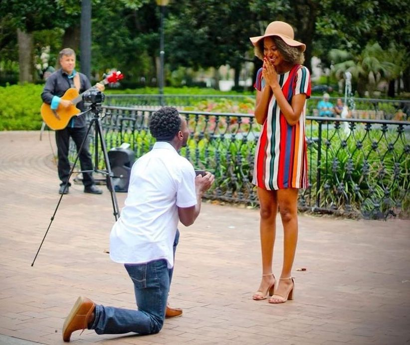 proposal at Forsyth Park in Savannah