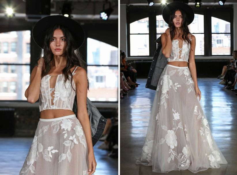 278914e6a3 16 Crop-Top Wedding Dresses for Trendy Brides-To-Be - WeddingWire