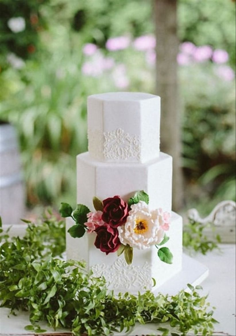 white hexagon fondant cake