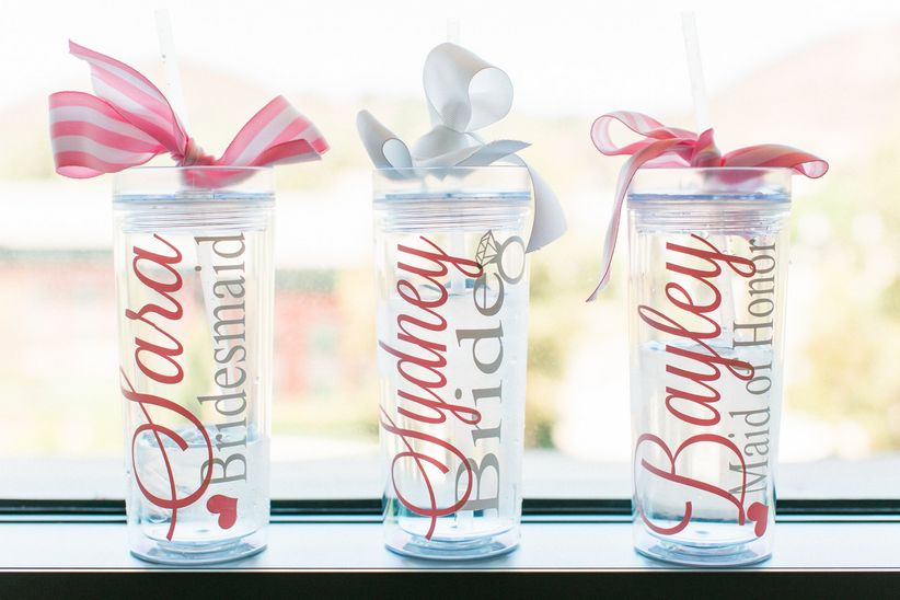 bridesmaid gift personalized water bottles