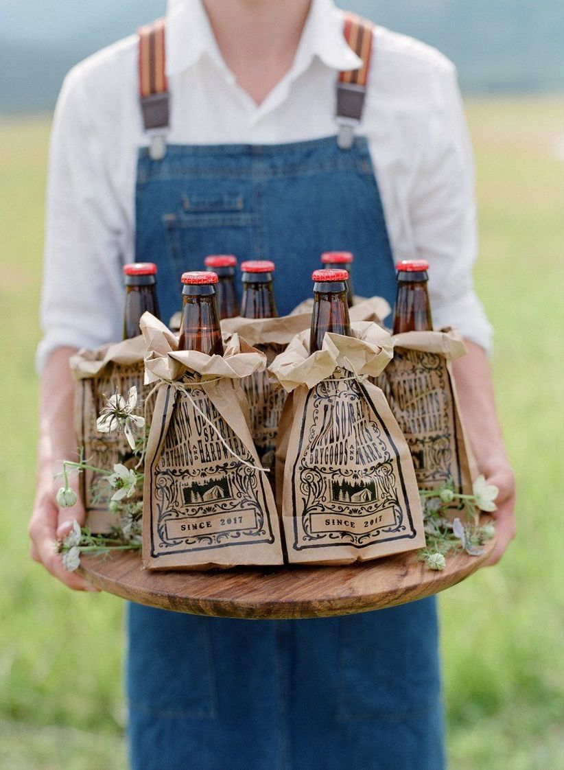 beer bottles in paper bags