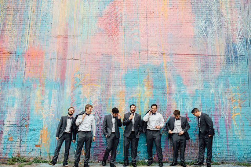 groomsmen laughing mural wall