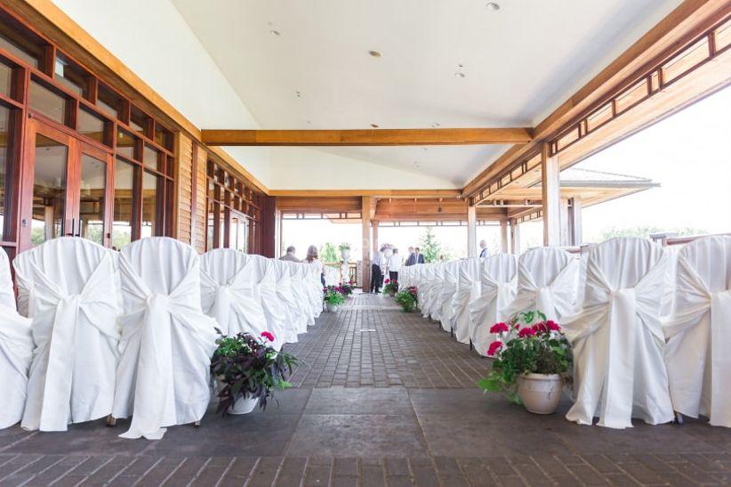 wedding ceremony on covered patio