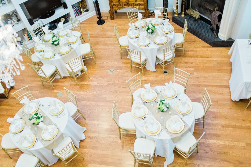 overheard photo of round wedding reception tables