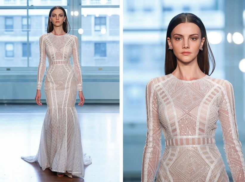 8 modern wedding dresses full of geometric details and