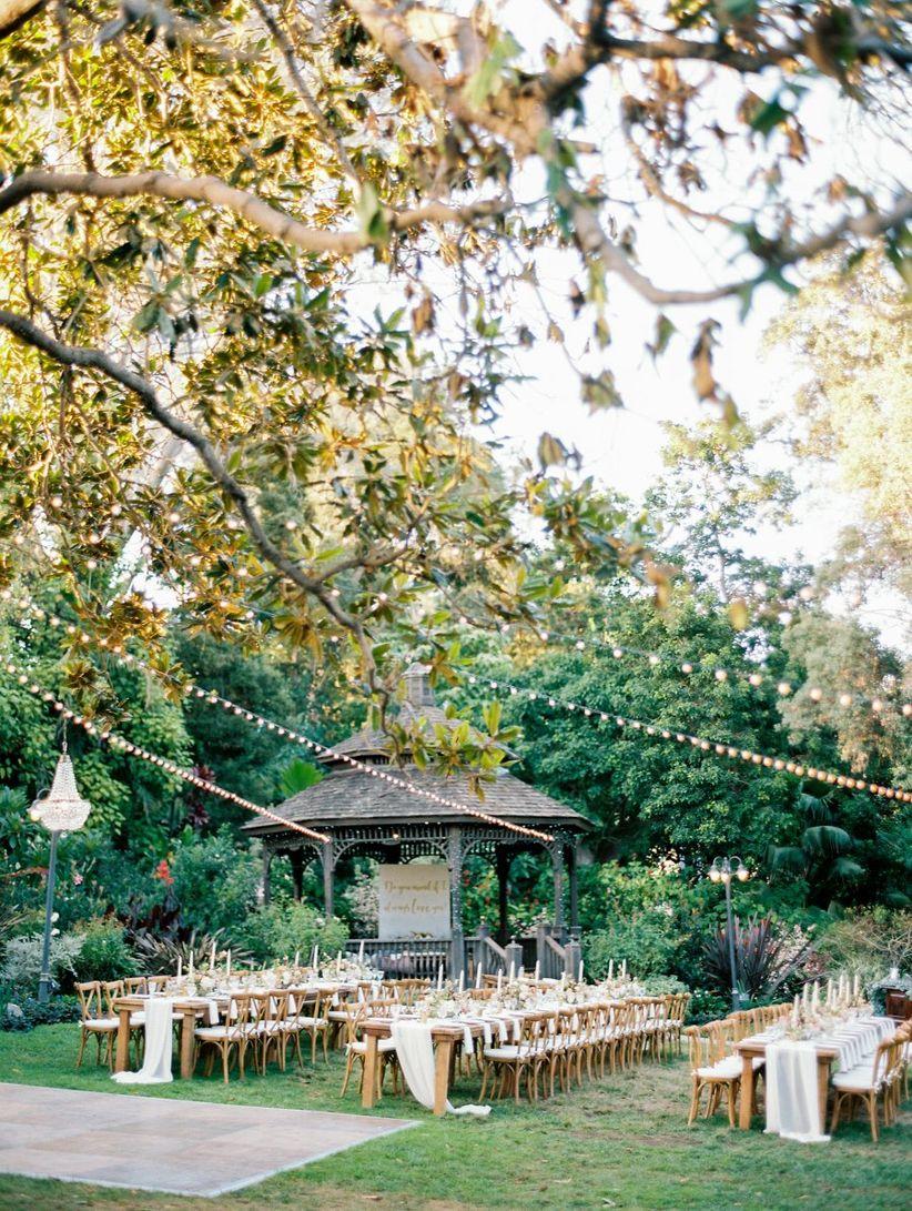 outdoor garden wedding reception