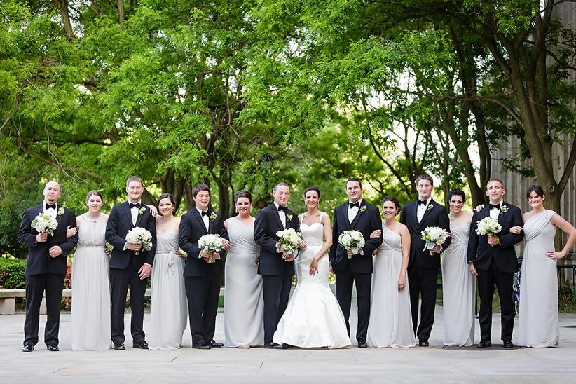 wedding party posing pittsburgh park