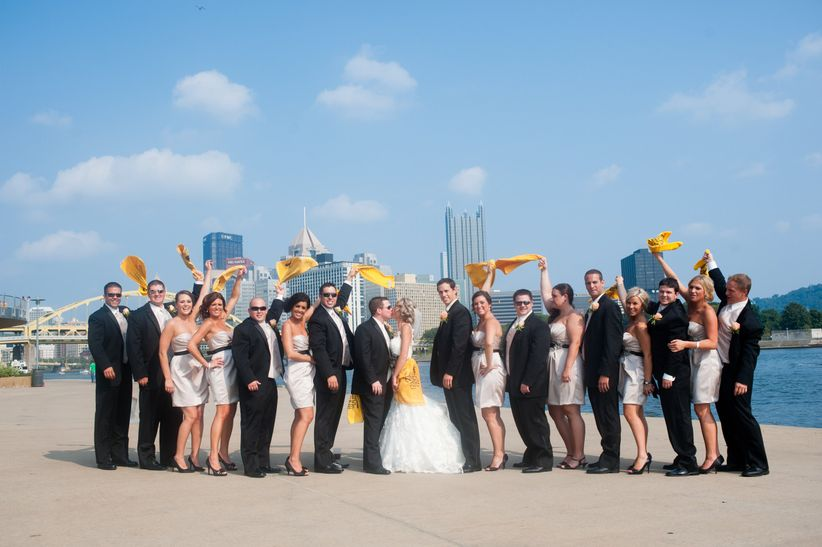 wedding party waving terrible towels pittsburgh