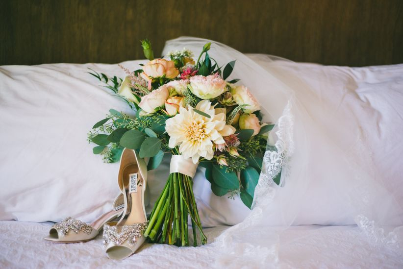 wedding bouquet with shoes