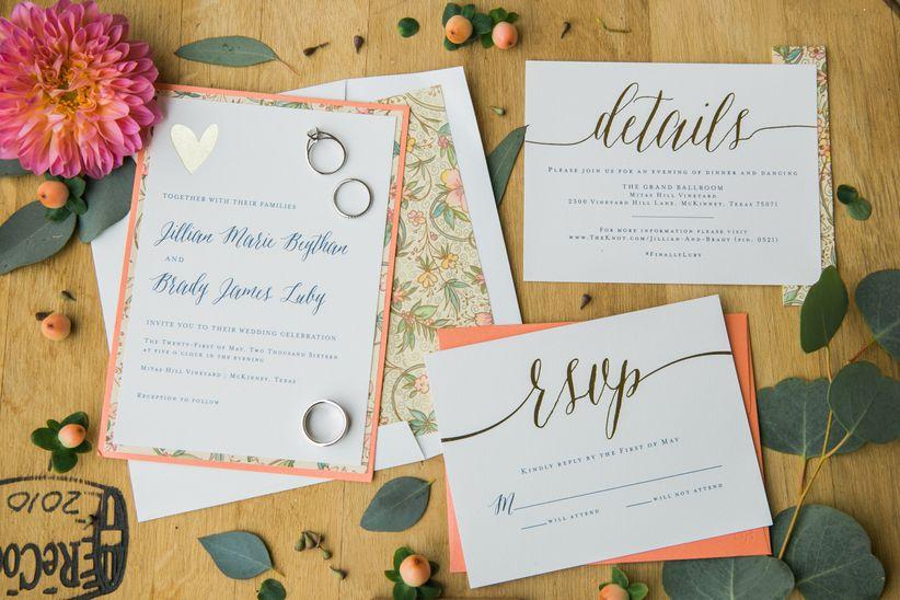 peach floral wedding invitation suite