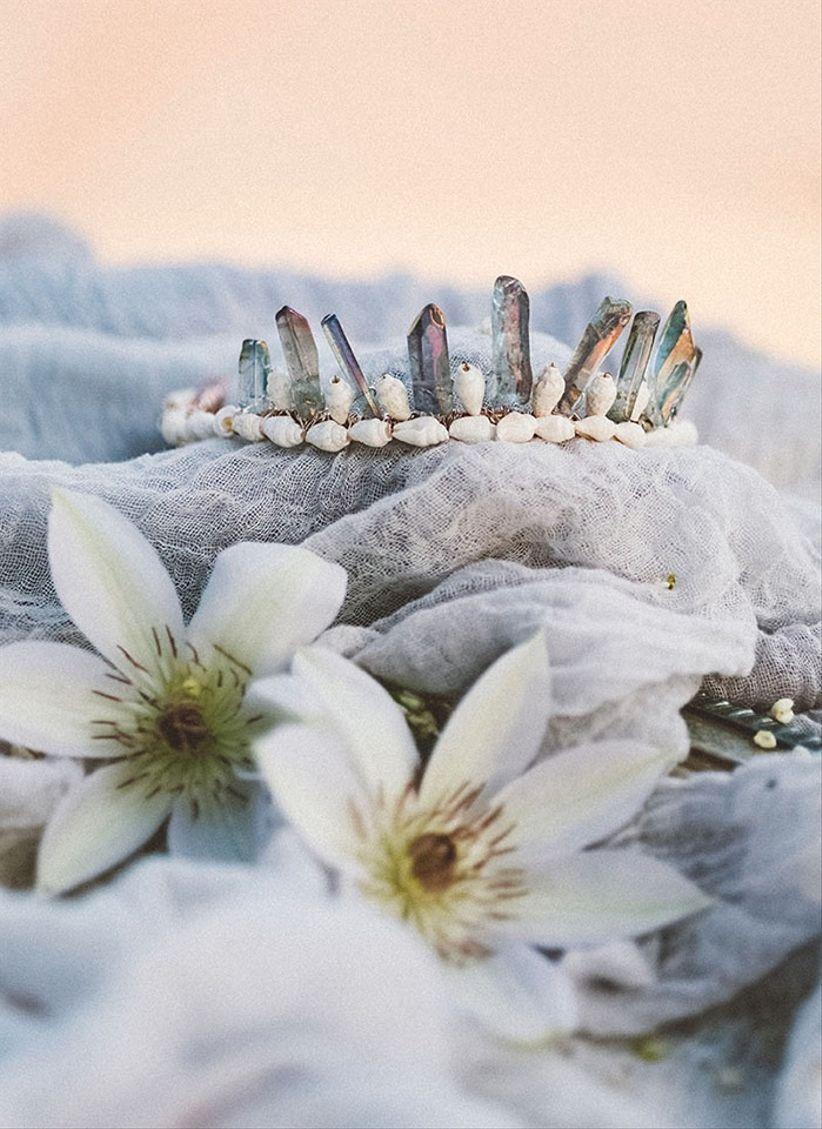 boho chic wedding tiara with raw crystals and seashells